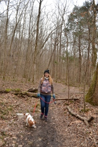 Brandy and Bowie ... in the woods!